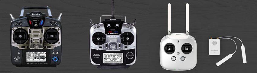 オーダーメイドドローンでは送信機をFUTABA製・DJI製から選べます